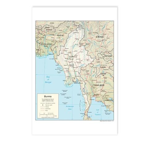 Myanmar Burma Map Postcards (Package of 8)