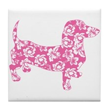 Hawaiian Pink Doxie Dachshund Tile Coaster