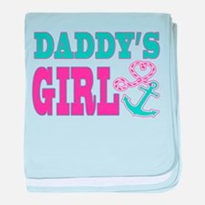 Daddys Girl Boat Anchor and Heart baby blanket