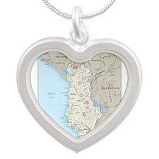 Albania Map Silver Heart Necklace