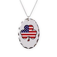 'USA Shamrock' Necklace Oval Charm