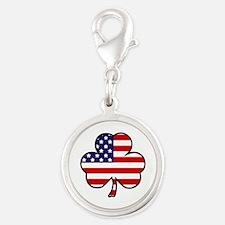 'USA Shamrock' Silver Round Charm