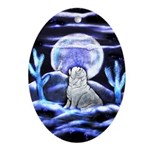 The Howling English Bulldog Oval Ornament