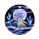 The Howling English Bulldog Ornament (Round)