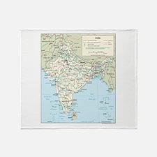 India Map Throw Blanket