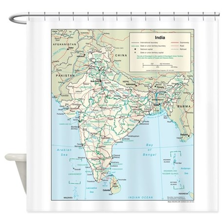 India Map Shower Curtain By Zoomwear