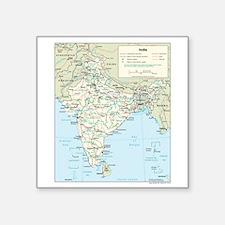 """India Map Square Sticker 3"""" x 3"""""""