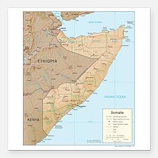 "Somalia Map Square Car Magnet 3"" x 3"""