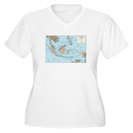 Indonesia Map Women's Plus Size V-Neck T-Shirt