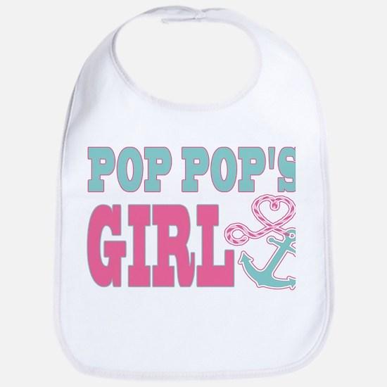 Pop Pops Girl Boat Anchor and Heart Bib