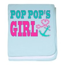 Pop Pops Girl Boat Anchor and Heart baby blanket