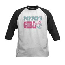 Pop Pops Girl Boat Anchor and Heart Baseball Jerse