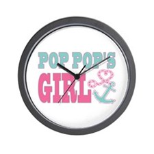 Pop Pops Girl Boat Anchor and Heart Wall Clock