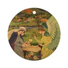 Vintage Religious Tapestry Round Ornament