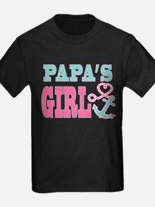 Papas Girl Boat Anchor and Heart T-Shirt
