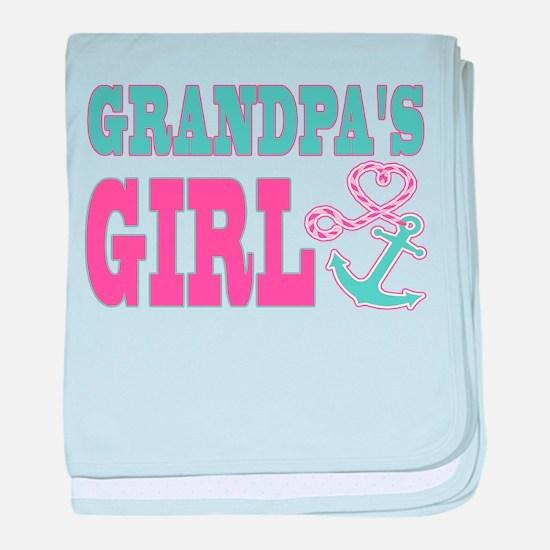Grandpas Girl Boat Anchor and Heart baby blanket