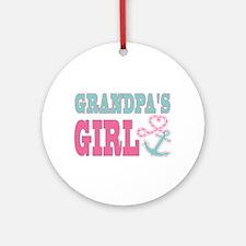 Grandpas Girl Boat Anchor and Heart Ornament (Roun