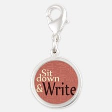 Sit Down and Write Silver Round Charm