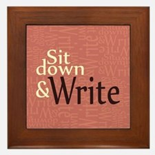 Sit Down and Write Framed Tile