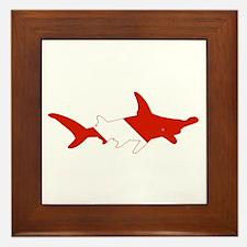 Shark Diver Framed Tile