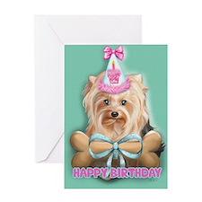 ByCatiaCho Yorkie LuLoo Greeting Card
