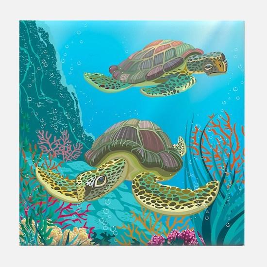 Cute Sea Turtles Tile Coaster