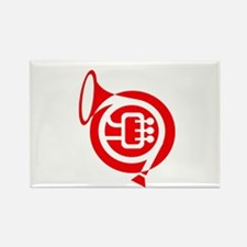 french horn stylized simple red Magnets