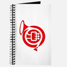 french horn stylized simple red Journal