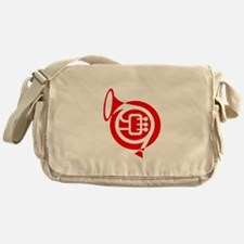 french horn stylized simple red Messenger Bag