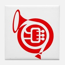 french horn stylized simple red Tile Coaster