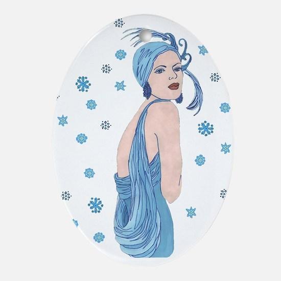 Blue Flapper Christmas Ornament (Oval)