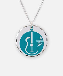 guitar abstract cutout with notes teal Necklace