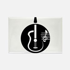 guitar abstract cutout with notes Magnets