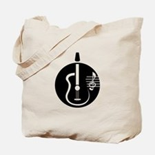 guitar abstract cutout with notes Tote Bag