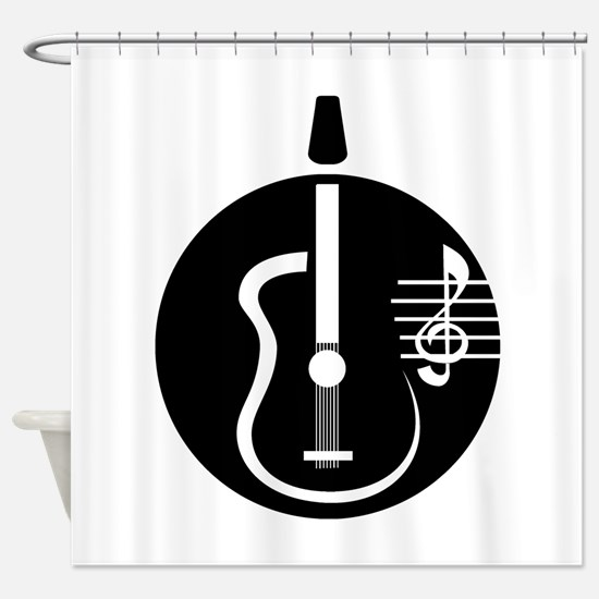guitar abstract cutout with notes Shower Curtain