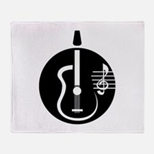 guitar abstract cutout with notes Throw Blanket
