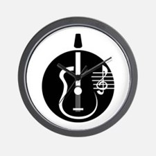guitar abstract cutout with notes Wall Clock