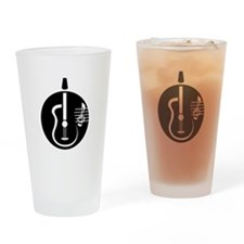 guitar abstract cutout with notes Drinking Glass