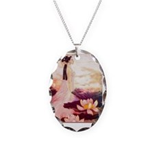 Vintage Oriental Painting Lady Necklace
