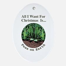 Xmas Peas on Earth Ornament (Oval)