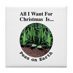 Xmas Peas on Earth Tile Coaster