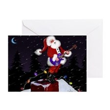 Guitar Playing Santa Claus Greeting Cards