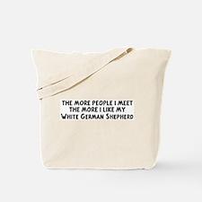 White German Shepherd: people Tote Bag