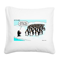 Penguin Mothers Day Square Canvas Pillow