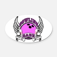 Bowling Babe Oval Car Magnet