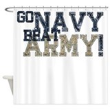 Go navy beat army in flags Shower Curtains