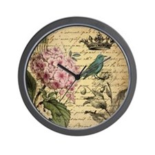 cute vintage floral teal bird crown par Wall Clock