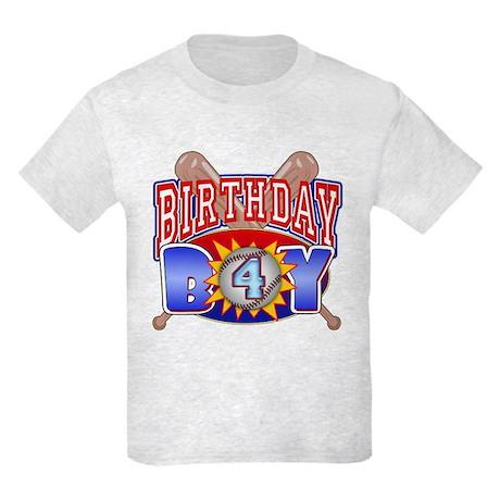 Baseball 4th Birthday Kids Light T-Shirt