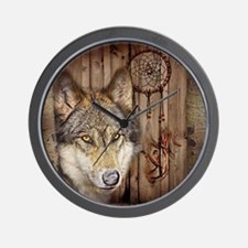 rustic western country native dream cat Wall Clock
