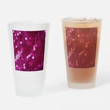 Pink Sequins Print Drinking Glass